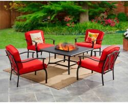 Outdoor Fire Pit Patio Set 5 PC Table Furniture Chairs Wood Burning Firepit Red