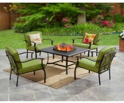 Outdoor Fire Pit Patio Set 5 PC Table Furniture Chair Wood Burning Firepit Green