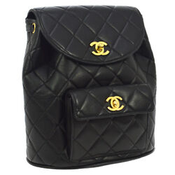 Auth CHANEL Quilted CC Logos Chain Backpack Bag Black Leather Vintage S07819