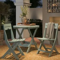 Porch Patio Set Bistro Table Chairs 3 Pieces Outdoor Garden Folding Furniture US