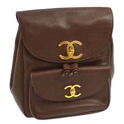 Authentic CHANEL CC Logos Backpack Bag Brown Caviar Skin Leather Vintage AK18893