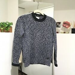 AUTHENTIC CHANEL 14B Cashmere Knit Sweater BlueWhite Size34