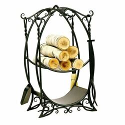 Iron Fireplace Rack & Tools Stylish Hearth 5 Pcs Country Accent Set Wood Shelves