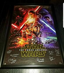 *STAR WARS : THE FORCE AWAKENS LEAD CAST SIGNED 27X40 W HOLO : MUST SEE*
