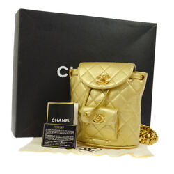 Authentic CHANEL Quilted CC Logos Chain Backpack Bag Gold Leather GHW N00613