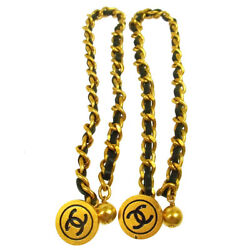 Auth CHANEL Vintage CC Sleeve Buttons Cuffs Gold Chain Accessories AK20502