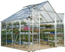 Silver Polycarbonate Greenhouse Clear Panels Roof Vent Snap and Grow 8 x 8 ft.