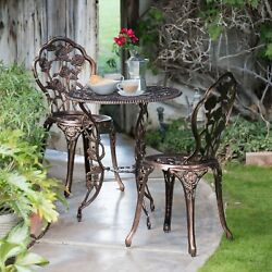 WROUGHT IRON PATIO Bistro Set Rose Table And Chairs 3Pcs Garden Outdoor Furnitur