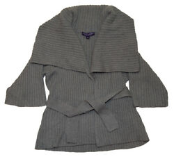 Ralph Lauren Black Label Women Cashmere Shawl Sweater Cardigan Italy Gray Medium