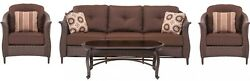 Cambridge Coral Bay 4 Piece All Weather Wicker Patio Seating Set Brown Cushions