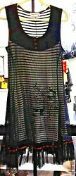 NWT TANGO MANGO BLACK WHITE STRIPE DRESS RUFFLED NETTING OVERLAY REAR BUSTLE  XL