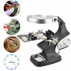 Helping Hand Soldering Stand With 10 LED Light Clip Magnifier Magnifying Glass