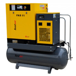 First Air FAS11U 15-HP 53-Gallon Rotary Screw Air Compressor wDryer (230V 3-...