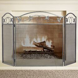 Amagabeli 3 Panel Pewter Wrought Iron Fireplace Screen Outdoor Metal Deco... New
