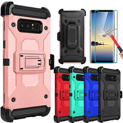 For Samsung Galaxy Note 8 Armor Case With Kickstand Belt Clip  Screen Protector $7.96