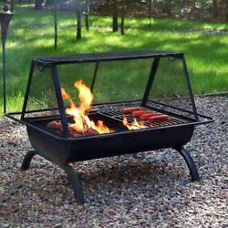 Outdoor Fire Grill Wood Burning Camping Firepit Cooking Pit BBQ Charcoal Steel
