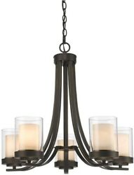 5 Light Chandelier Rustic Candle Style Glass Shade Hanging Fixture Olde Bronze