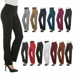 Bootcut Dress Pants for Women -Stretch Comfy Work Office Pull on Womens Pant