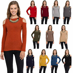 Womens Cold Shoulder Knitted Top - Long Sleeve Pullover Sweater- USA