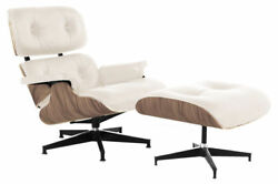 Lounge Chair and Ottoman Mid Century Modern Accent Chair Walnut Ivory Leather
