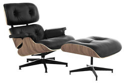 Lounge Chair and Ottoman Mid Century Modern Accent Chair Walnut Black Leather