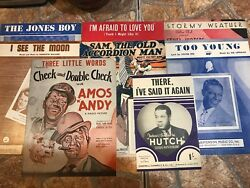 VINTAGE LOT (8) OF OLD SHEET MUSIC -- CHECK AND DOUBLE CHECK AMOS N ANDY