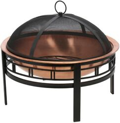 28 Inch Copper Mission Fire Pit Backyard Outdoor Wood Burning Portable Screen