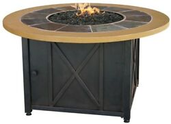 Propane Gas Fire Pit Outdoor Burner Stainless Steel 43 Inch Slate Tile Faux Wood