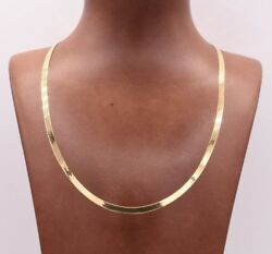 High Polished Herringbone Necklace Chain 14K Solid Yellow Gold 4.0mm ALL SIZES $439.99