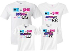 He Or She Cant wait to see Gender Reveal Family Funny matching cute T-Shirts
