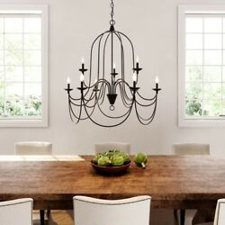 9 Light Chandelier Candle Rustic Farmhouse Oil Rubbed Bronze Silver Highlights