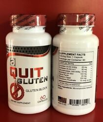 Quit Gluten Block Free 40 % Off 60 capsules Dietary Supplement Easy Digestion of $12.95