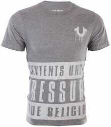 TRUE RELIGION Mens T-Shirt CONTENTS UNDER PRESSURE Heather Grey $68 Jeans NWT