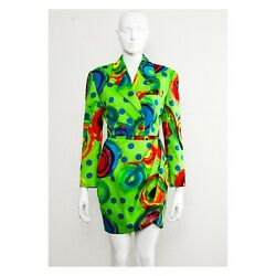 Rare vintage acid pop art GIANNI VERSACE VERSUS runway 1991 skirt suit