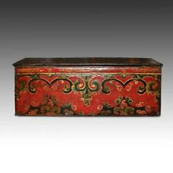 RARE ANTIQUE CHOCHE TEA TABLE PAINTED PINE TIBET CHINESE FURNITURE 17TH C. $9950.00