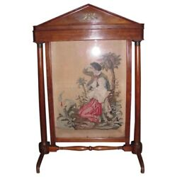 Antique Biedermeier Mahogany Fireplace Screen Petit Point Circa 1820 $1250.00