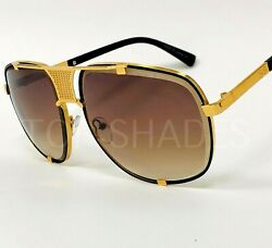 Designer Men Sunglasses Classic Hip Hop Style Square Fashion Shades Gold Frame