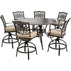 Patio Dining Set Cast Aluminum Outdoor Furniture Bar Swivel Chair Cushion 7-PCS