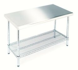 Kitchen Utility Worktable Adjustable Chrome-Plated Shelf Stainless Steel Top