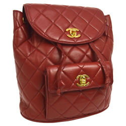 Auth CHANEL Quilted CC Logos Chain Backpack Bag Red Leather Vintage AK20433