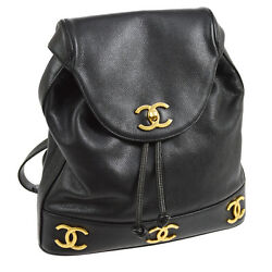 Auth CHANEL CC Chain Drawstring Backpack Bag Black Caviar Skin Leather A20376