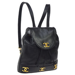 Authentic CHANEL CC Chain Backpack Bag Black Caviar Skin Leather Vintage AK23218