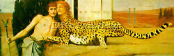 FERNAND KHNOPFF THE CARESS ARTIST PAINTING HANDMADE OIL CANVAS REPRO ART DECO