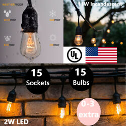48Ft 15 Hanging Sockets Vintage Outdoor Patio String Lights w S14 Shaped Bulbs