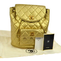 Authentic CHANEL Quilted CC Logos Chain Backpack Bag Gold Leather GHW N00642