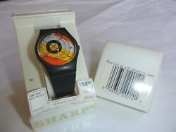 NOS Vtg 80's Sharp MOD Watch Plastic Quartz Yellow Orange Geo Face Water Resista