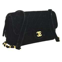 Auth CHANEL Quilted CC Chain Backpack Bag Black Velvet Leather Vintage BA01744