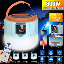 Rechargeable Solar LED Camping Light Lantern Hiking Tent Lamp Outdoor w Remote $15.98