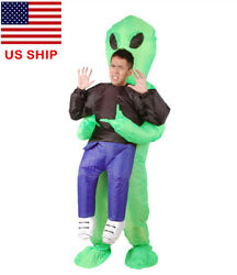 Adult Inflatable Monster Scary Green Alien Funny Halloween Cosplay Costume US!