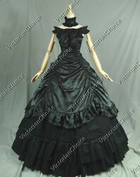 Victorian Gothic Black Gown Wild West Dress Witch Women Halloween Costume 135